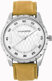 Invaders Round Dial White Analog Watch-INV-JNS2-SSYLW-6