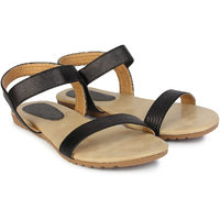 Do Bhai Women's Black Sandals - 116503720