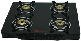 Quba B4 Auto 4 Burner Gas Stove Black Glasz