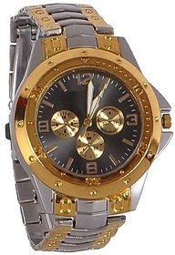 Men Chronograph Analogue Golden Steel Watch For Man