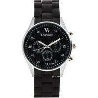 Invaders Round Dial Black Analog Watch-INV-SPOT-BLK-670