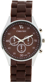 Invaders Round Dial Brown Analog Watch-INV-SPOT-BRN-670