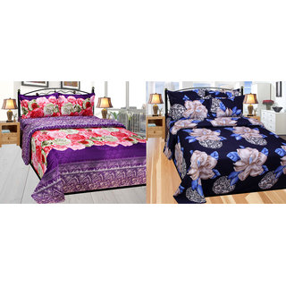 Azaani beautiful floral polycotton double bed sheet with two pillow cover