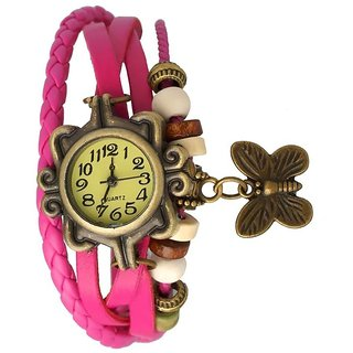 Woman Vintage Analogue Designer Pink  Leather Watch For Woman44