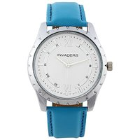 Invaders Round Dial White Analog Watch-INV-CLRS-BLUE-67