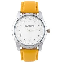 Invaders Round Dial White Analog Watch-INV-CLRS-YELLOW-