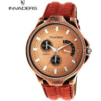 Invaders Round Dial Brown Analog Watch-INV-CRBN-COP