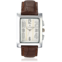 Invaders Rectangle Dial White Analog Watch-INV-SPTR-BRN