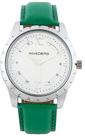 Invaders Round Dial White Analog Watch-INV-CLRS-GREEN-6