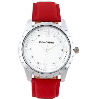 Invaders Round Dial White Analog Watch-INV-CLRS-RED-670