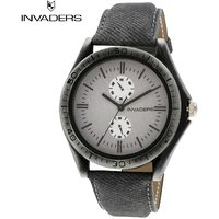 Invaders Round Dial Grey Analog Watch-INV-CURN-GRY