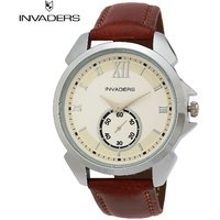 Invaders Round Dial White Analog Watch-INV-DXTR-WHT