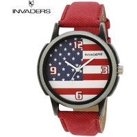 Invaders Round Dial Multi Analog Watch-INV-DZIN-RED