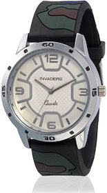 Invaders Round Dial White Analog Watch-INV-ARMY-MBLUE-6