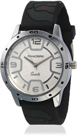 Invaders Round Dial White Analog Watch-INV-ARMY-MGREY-6