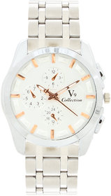 Invaders Round Dial White Analog Watch-INV-EMPR-WTGLD-6