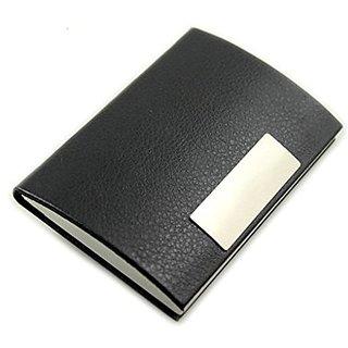 Buy Stylish Black Silver Leather Cum Metal Visiting Card Holder