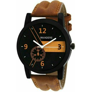 Invaders Round Dial Tan Leather Strap Analog Watch for Men - INV-ESPR-BRN