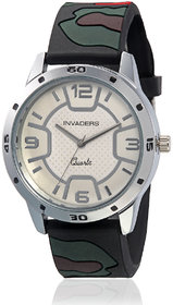 Invaders Round Dial White Analog Watch-INV-ARMY-MRED-67