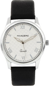Invaders Round Dial White Analog Watch-INV-GRDT-SSWHT-6