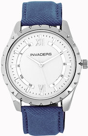 Invaders Round Dial White Analog Watch-INV-JNS1-SSBLU-6