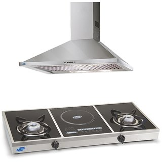 Geln GL 6054 SS 90 cm 1000 m/h Classic Chimney + Glen GL 1037 GT Glass Cooktop with Electric operated induction zone