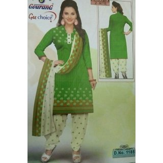 Green Cotton Dress Material (Unstitched)