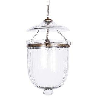 Fos Lighting Hundi Line Cut Glass Bell Jar Hanging Lantern