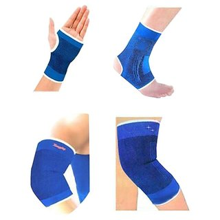 Aaliya Combo Ankle Knee Elbow Palm Support Pairs For Gym Exercise Grip