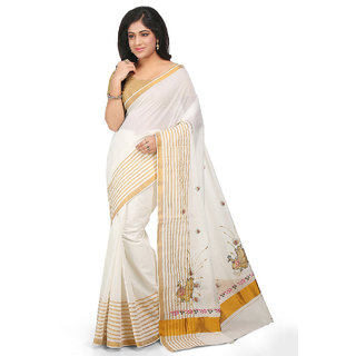 Fashionkiosks Kerala Kassavu Cotton Jari border and Peacock Embroidery Saree with Blouse 4001