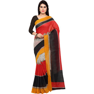 Florence Red Bhagalpuri Silk Printed Saree With Blouse
