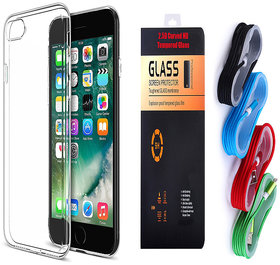 Samsung Galaxy S6 Edge Plus Soft Transparent TPU Back Cover and 9H Tempered Glass and USB Nylon Cable