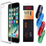 Gionee Elife S Plus Soft Transparent TPU Back Cover and 9H Tempered Glass and USB Nylon Cable
