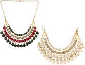 Beautiful Heart Stealing Pearl Necklace For Girls and Women(Combo of 2-010)