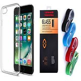 Oppo Joy 3 Plus Soft Transparent TPU Back Cover and 9H Tempered Glass and USB Nylon Cable