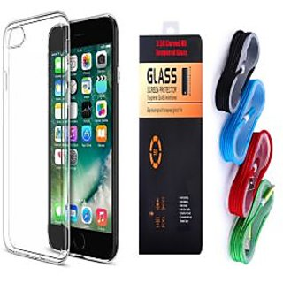 promo code 9183d 7d85c Oppo Joy 3 Plus Soft Transparent TPU Back Cover and 9H Tempered Glass and  USB Nylon Cable