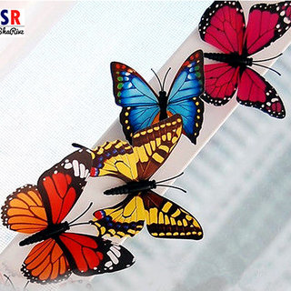Plastic Wall Decor 3D Butterfly - Set of 4 (Multicolor)