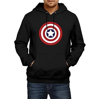Fanideaz Mens Fullsleeve Cotton Traditional Captain America Premium Hoodies Sweatshirt Pullover Jacket_Black_S