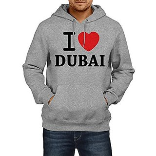 Fanideaz Mens Fullsleeve Cotton I Love Dubai Premium Hoodies Sweatshirt Pullover Jacket