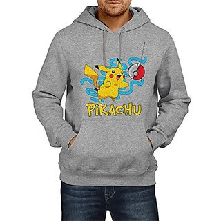 Fanideaz Cotton Pikachu Catching Pokeball Hoodies For Men Premium Sweatshirt