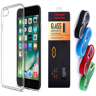 Vivo V5 Soft Transparent TPU Back Cover and 9H Tempered Glass and USB Nylon Cable