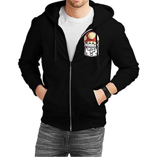 Fanideaz Mens Cotton Mario Mushroom Printed Pocket Zipper Hoodies For Men (Zipper Sweatshirt)