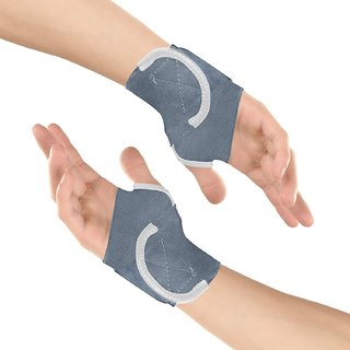 Healthgenie Wrist Brace with Thumb Support One Size Fits Most (1 Pair - Grey), Elastic  Breathable Fabric - Adjustable