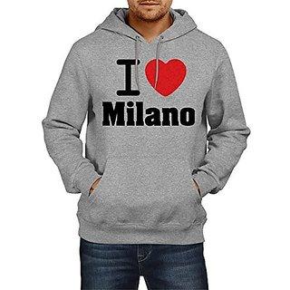 Fanideaz Mens Fullsleeve Cotton I Love Milano Premium Hoodies Sweatshirt Pullover Jacket