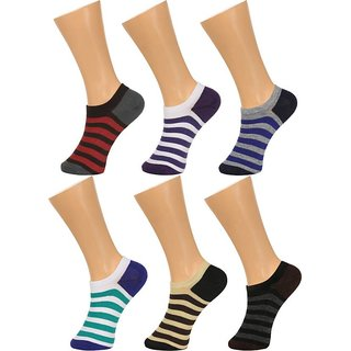 Tahiro Multicolour Striped Cotton Footies Loafer Socks - Pack Of 6