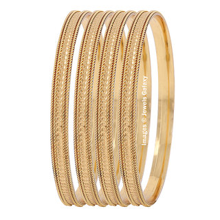 Jewels Galaxy Exclusive Limited Edition Traditional Designer Gold Plated Bangles For Women - Set Of 4