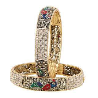 Jewels Galaxy Exclusive Austrian Diamond Traditional Pea Design Bangle Set Pack Of 2