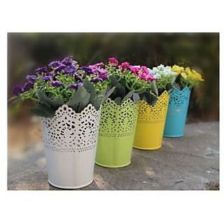 6th Dimensions Flower Pot Vase Pen Pencil Makeup Brush Holder Organize Small -Multicolored -Pack