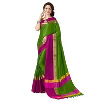 Bhuwal Fashion Green Embroidered Polycotton Saree With Blouse