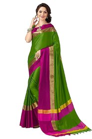 Bhuwal Fashion Green Plain Polycotton Saree With Blouse